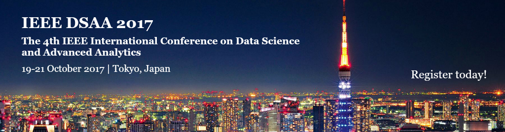 DSAA2017 - The 4th IEEE International Conference on Data Science and Advanced Analytics Data driven scientific discovery is an important emerging paradigm for computing in areas including social, service, Internet of Things, sensor networks, telecommunications, biology, health-care and cloud. Under this paradigm, Data Science is the core that drives new research in many areas, from environmental to social. There are many associated scientific challenges, ranging from data capture, creation, storage, search, sharing, modeling, analysis, and visualization. We mention here the integration across heterogeneous, interdependent complex data resources for real-time decision making, streaming data, collaboration, and ultimately value co-creation among the complex aspects to be addressed. Data science encompasses the areas of data analytics, machine learning, statistics, optimization and managing big data, and has become essential to glean understanding from large data sets and convert data into actionable intelligence, be it the data available to enterprises, Government or on the Web.